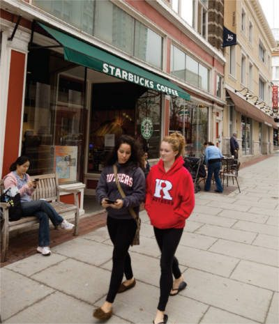 Rutgers students downtown