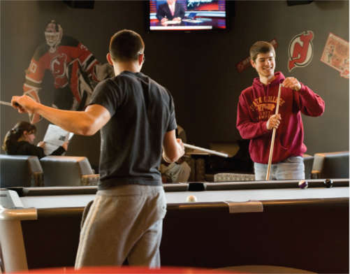 Rutgers Students playing pool
