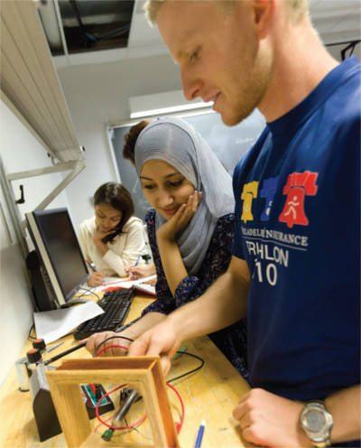 students using the math and science learning center